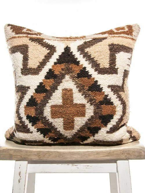 Aztec Wool Woven Diamond Square Pillow Front