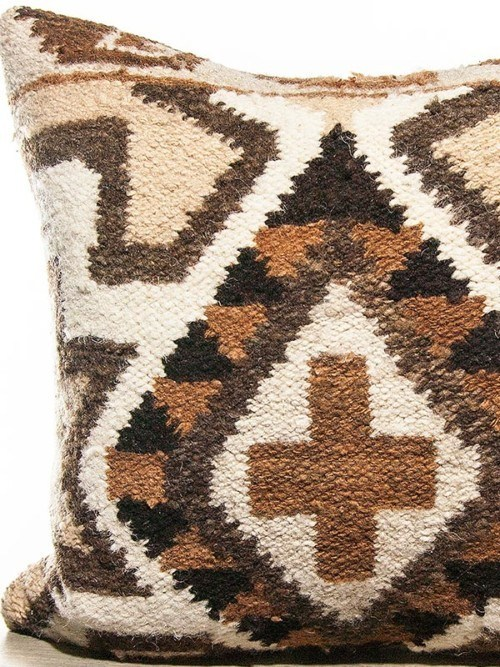 Aztec Wool Woven Diamond Square Pillow Zoom