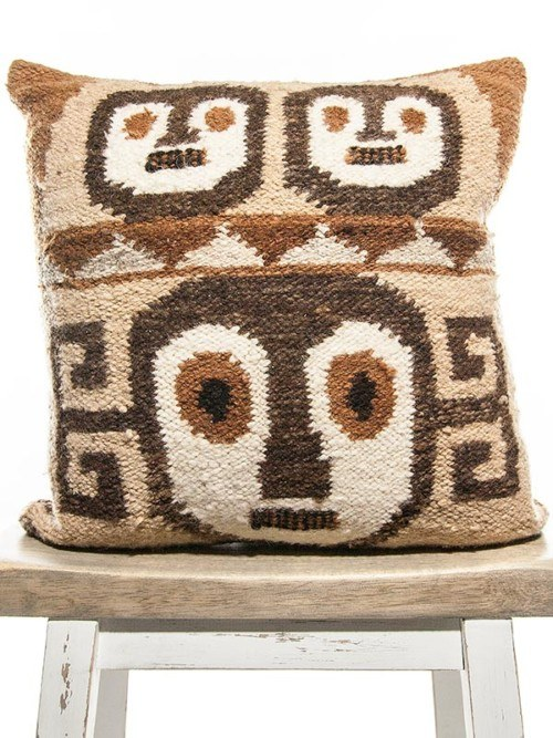 Aztec Wool Woven Face Square Pillow Front