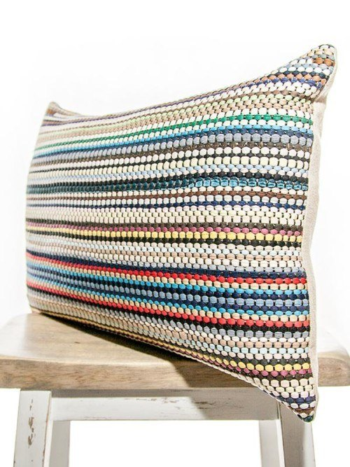 Basket Weave Cotton Multi Colored Rectangle Pillow Corner