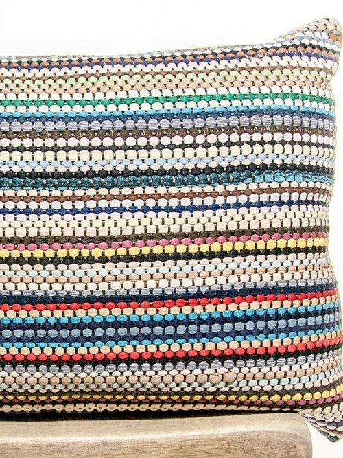 Basket Weave Cotton Multi Colored Rectangle Pillow Zoom