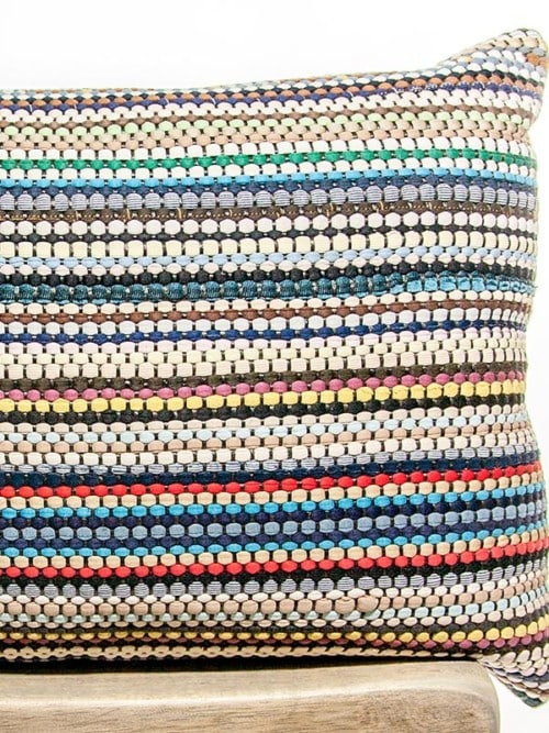 Basket Weave Cotton Multi Colored Rectangle Pillow My