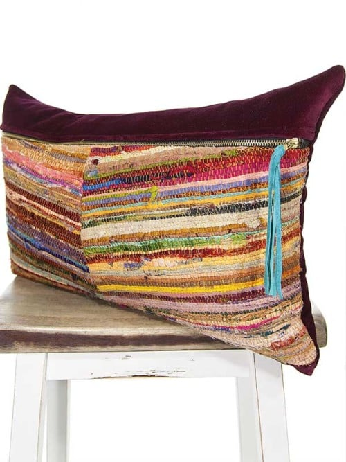 Belize Silk Box Woven Lumbar Pillow Angle