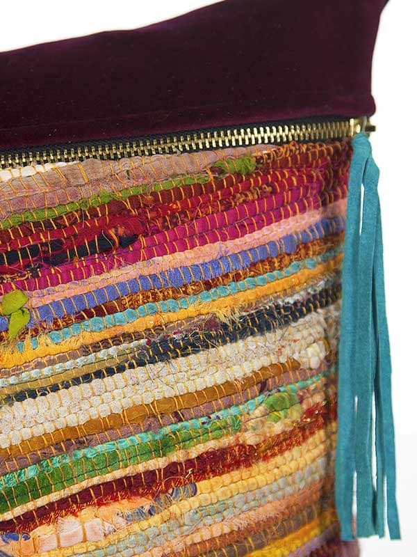 Belize Silk Box Woven Lumbar Pillow Tassel