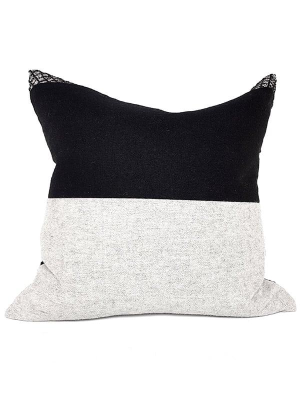 Black Woven Damask Throw Pillow Back