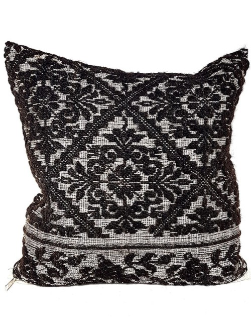 Black Woven Damask Throw Pillow Floral Front