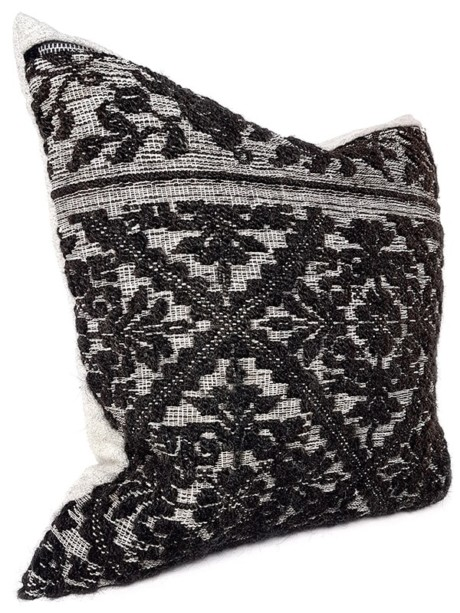 Black Woven Damask Throw Pillow Floral Side