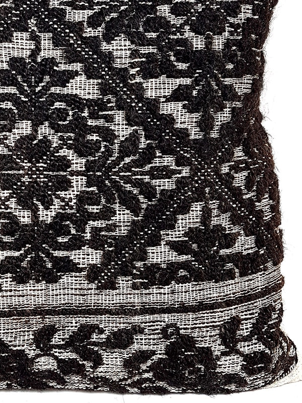 Black Woven Damask Throw Pillow Floral Zoom