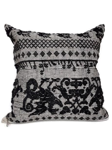 Black Woven Damask Throw Pillow Phoenix Front