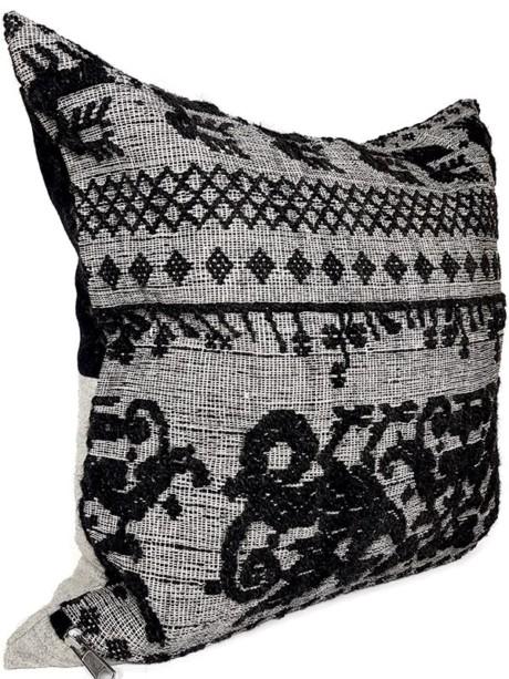 Black Woven Damask Throw Pillow Phoenix Side