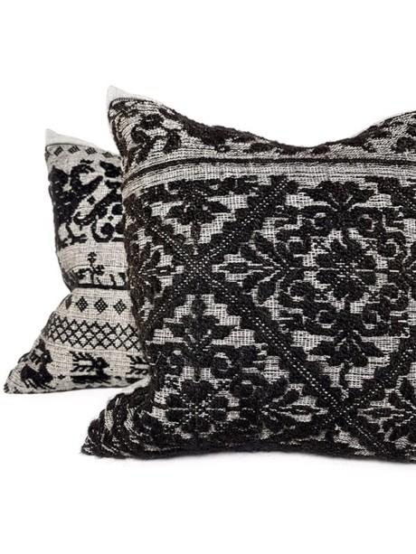 Black Woven Damask Throw Pillow Set