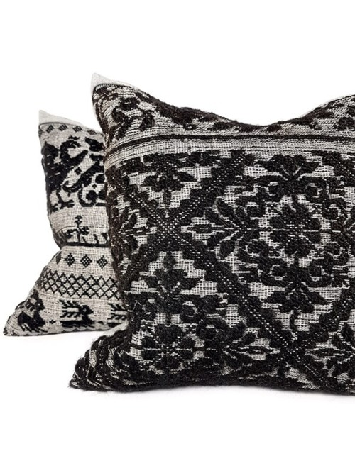 Black Woven Damask Throw Pillow Set