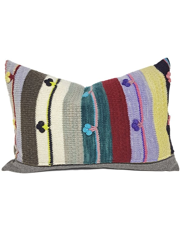 Bobble Striped Small Lumbar Pillow Front