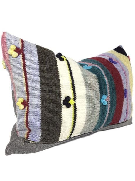Bobble Striped Small Lumbar Pillow Side