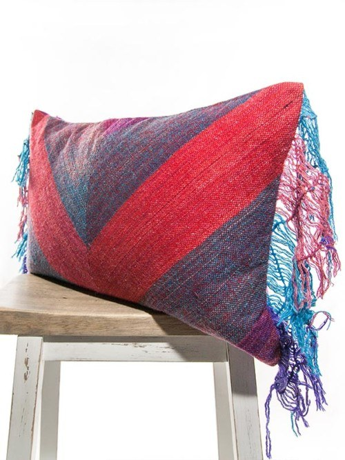 Bohemian Cotton Linen Fuchsia And Peacock Striped Rectangle Pillow Corner