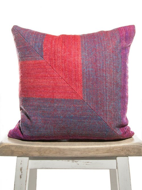 Bohemian Cotton Linen Fuchsia And Peacock Striped Square Pillow Front