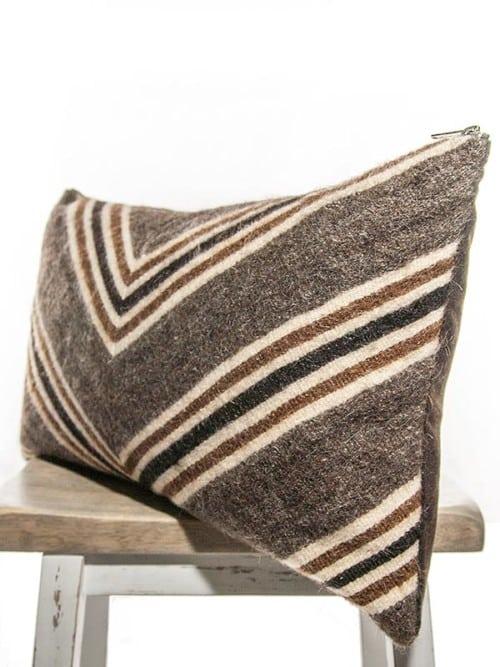 Chocolate Mohair Vintage Chevron Lumbar Pillow Corner
