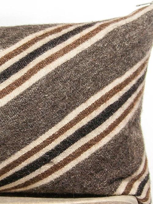 Chocolate Mohair Vintage Chevron Lumbar Pillow Zoom