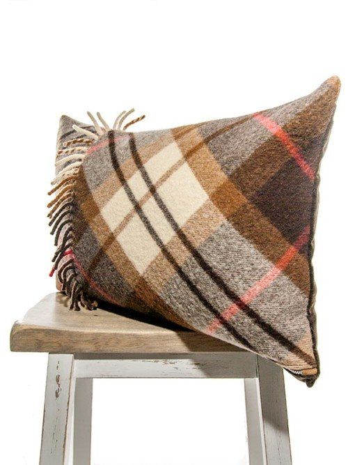 Felted Mocha Cream Tartan Lumbar Pillow Corner