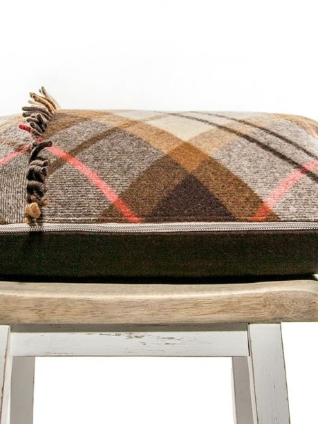 Felted Mocha Cream Tartan Lumbar Pillow Flat