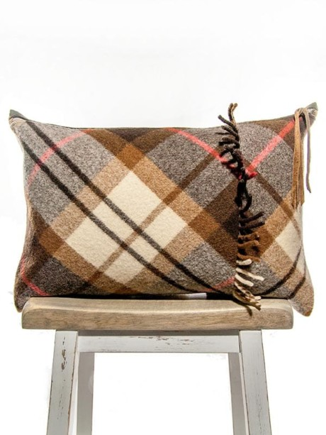 Felted Mocha Cream Tartan Lumbar Pillow Right