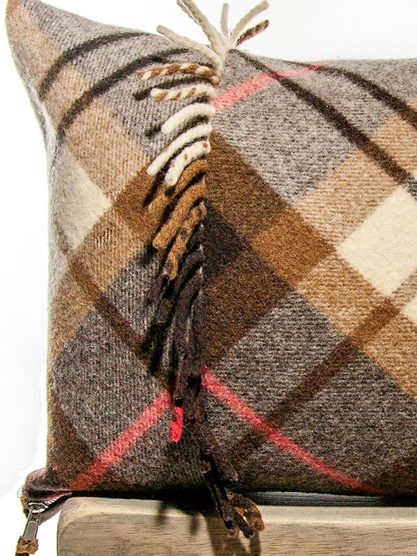 Felted Mocha Cream Tartan Lumbar Pillow Zoom