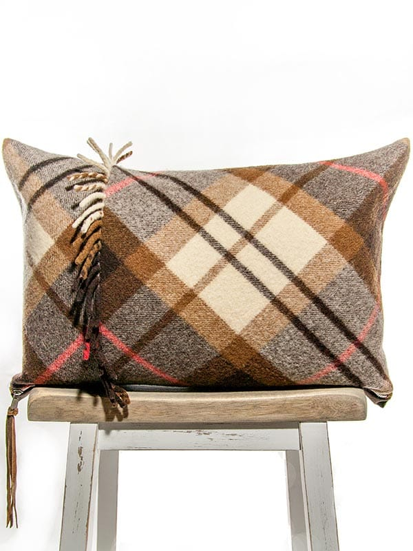 Felted Mocha Cream Tartan Lumbar Pillow