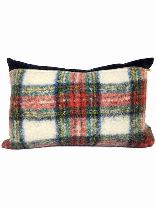 Felted Mohair Scottish Tartan Lumbar Pillow Front