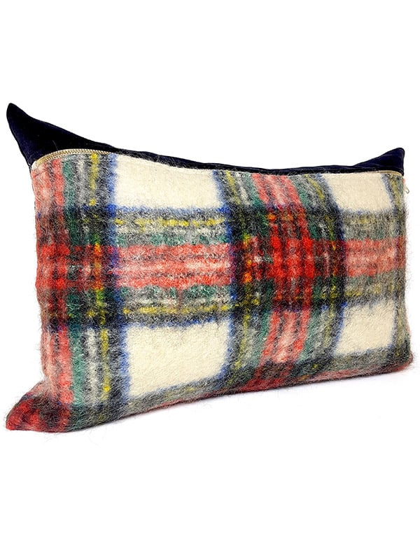 Felted Mohair Scottish Tartan Lumbar Pillow Side