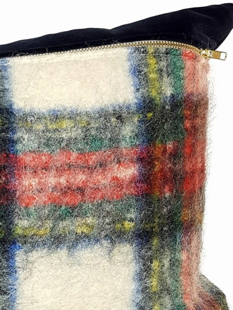 Felted Mohair Scottish Tartan Lumbar Pillow Zoom