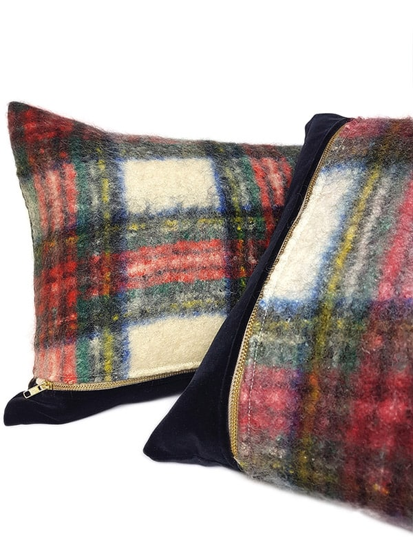 Felted Mohair Scottish Tartan Lumbar Throw Pillow Set