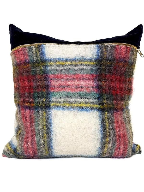 Felted Mohair Scottish Tartan Throw Pillow Front