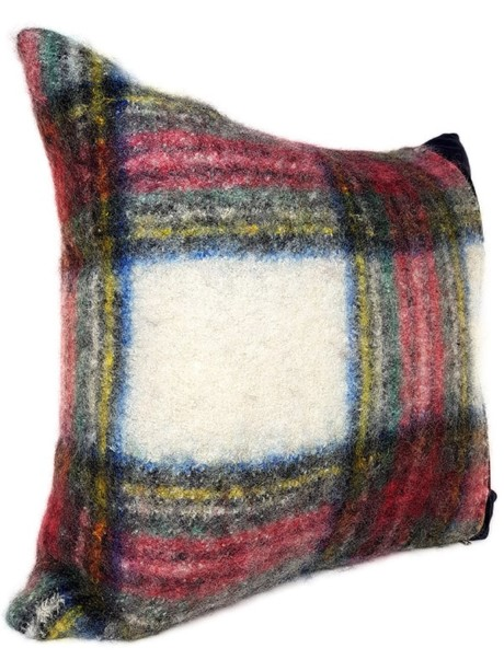 Felted Mohair Scottish Tartan Throw Pillow Side