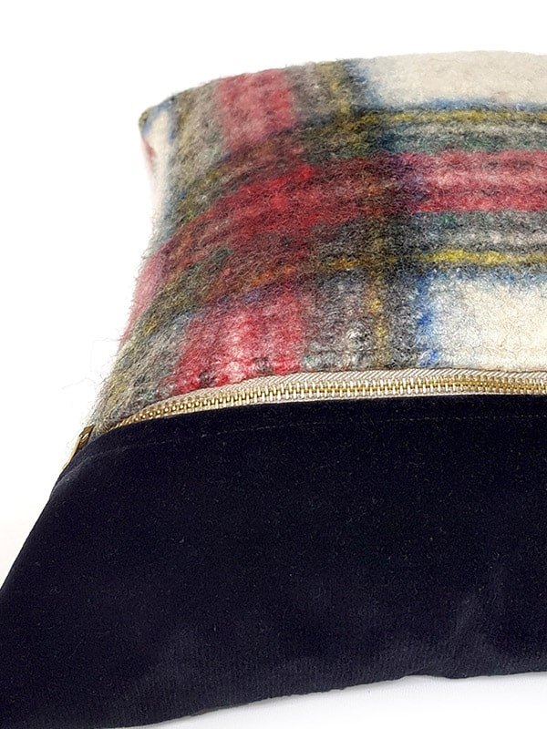 Felted Mohair Scottish Tartan Throw Pillow Zipper