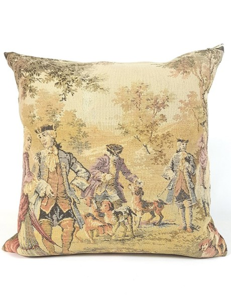 French Tapestry Throw Pillow Royal Hunting Dogs Front