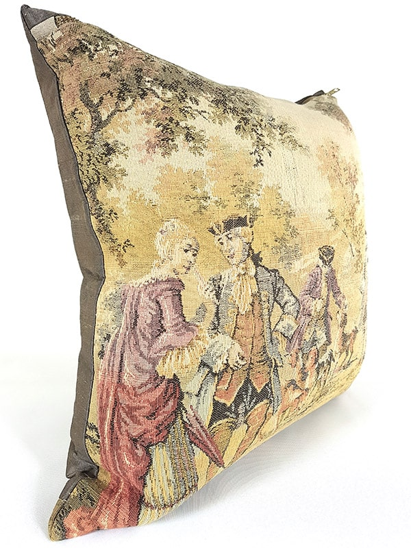 French Tapestry Throw Pillow Royal Hunting Dogs Side