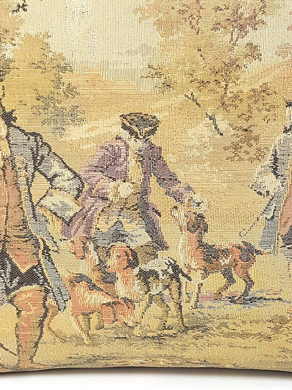 French Tapestry Throw Pillow Royal Hunting Dogs Zoom