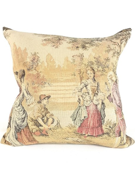 French Tapestry Throw Pillow Royal Hunting Fish Net Front