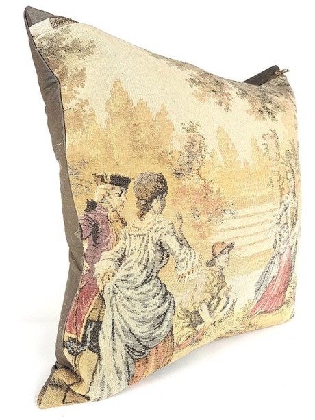 French Tapestry Throw Pillow Royal Hunting Fish Net Side
