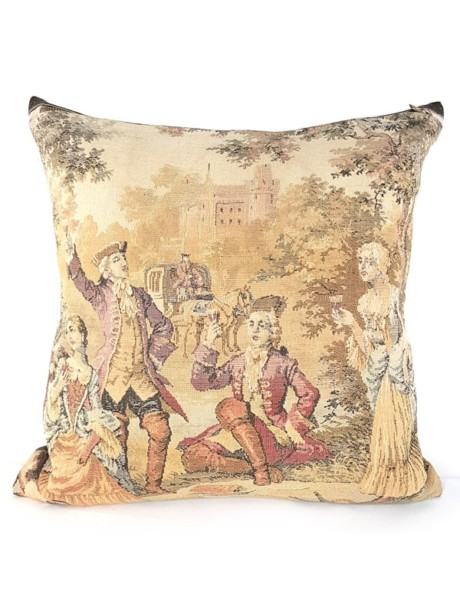 French Tapestry Throw Pillow Royal Hunting White Lady Front