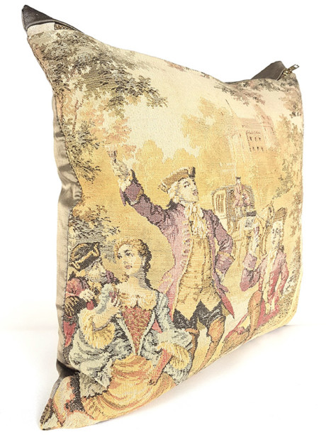 French Tapestry Throw Pillow Royal Hunting White Lady Side