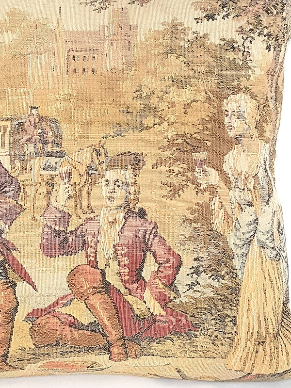 French Tapestry Throw Pillow Royal Hunting White Lady Zoom