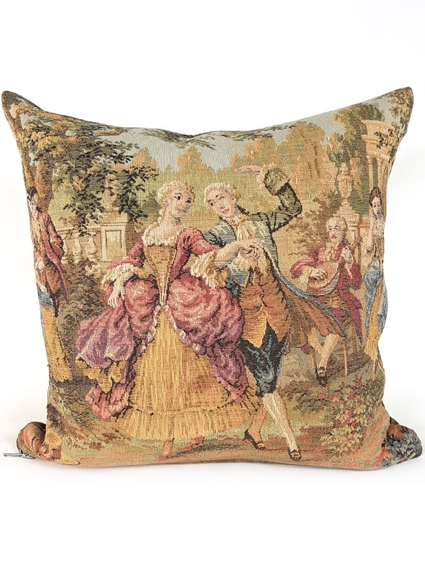 French Tapestry Throw Pillow Royal Picnic Dancing Front