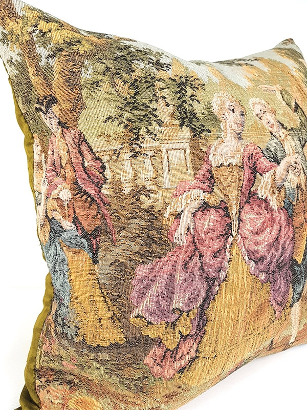 French Tapestry Throw Pillow Royal Picnic Dancing Side