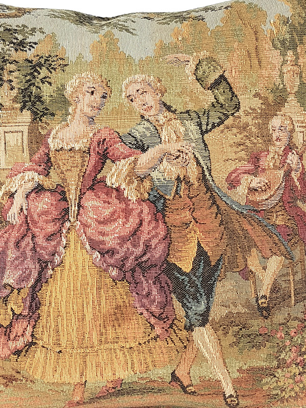 French Tapestry Throw Pillow Royal Picnic Dancing Zoom