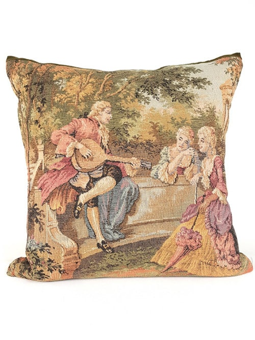 French Tapestry Throw Pillow Royal Picnic Guitar Front