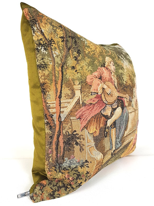 French Tapestry Throw Pillow Royal Picnic Guitar Side