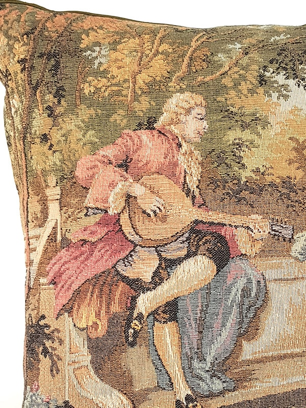 French Tapestry Throw Pillow Royal Picnic Guitar Zoom