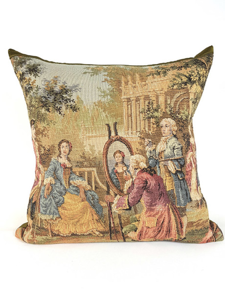French Tapestry Throw Pillow Royal Picnic Painting Front