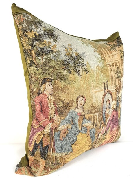 French Tapestry Throw Pillow Royal Picnic Painting Side